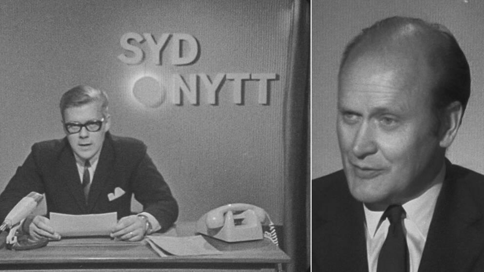 Till vänster programledare Bo Sigheden sittandes vid ett skrivbord med papper i handen och telefon bredvid, och Sydnytts första logga i bakgrunden. Till höger Gunnar Ollén som grundade Sydnytt.