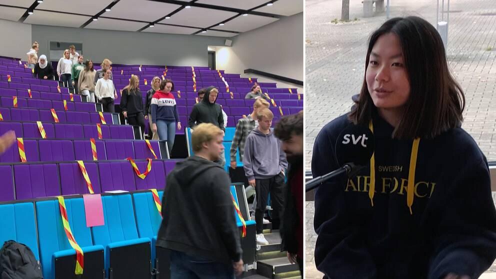 Deltagare i högskoleprovet till vänster, Ida Sjöström till höger.