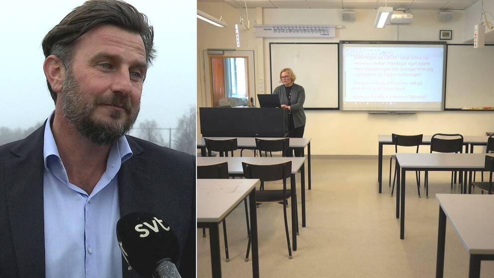 Pontus Clarin, tomt klassrum, lärare distansundervisar