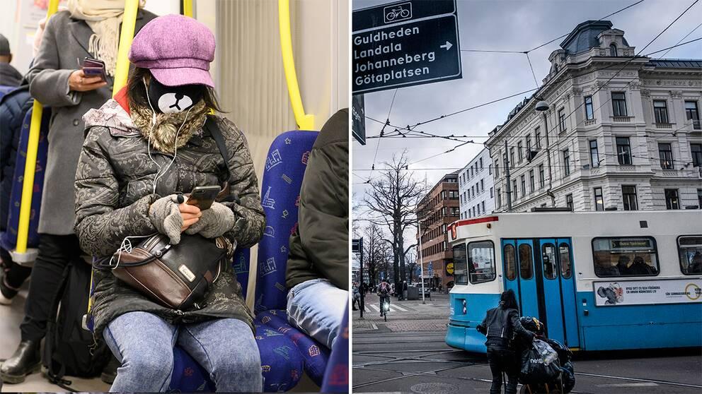 Kvinna med munskydd i Stockholms tunnelbana/spårvagn i Göteborg.