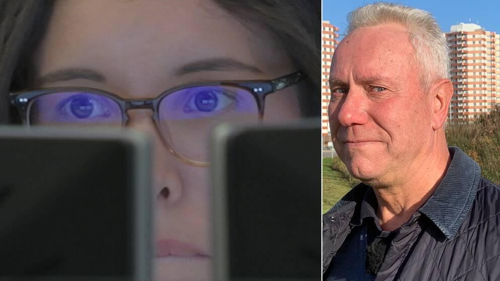 Kvinna framför dator till vänster, Benny Dahlqvist till höger.
