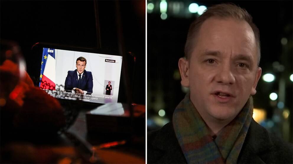 Skärm som visar Emmanuel Macros tal till nationen/SVT:s Europakorrespondent David Boati på plats i Paris
