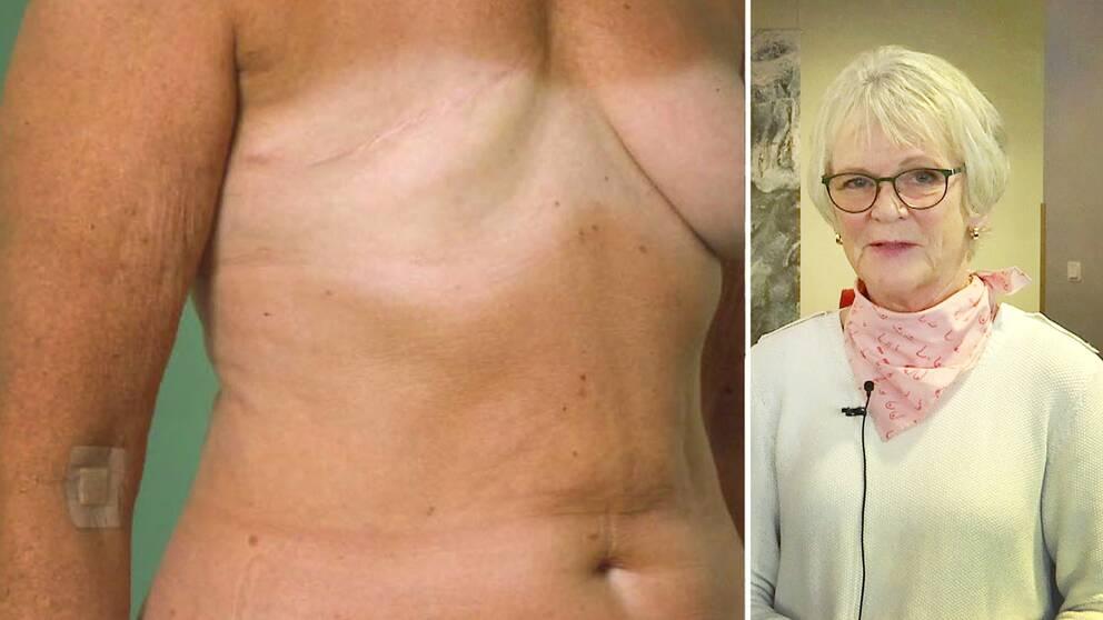 Bröstcancerföreningen Hildas ordförande, Lena Lundqvist (till höger), svarar nu på publikens frågor gällande bröstrekonstruktioner och bröstcancer.