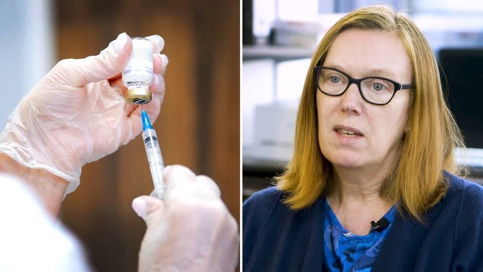 En bild på en spruta som suger upp vaccin ur en flaska, samt en bild på Sarah Gilbert som är forskningsledare på University of Oxford