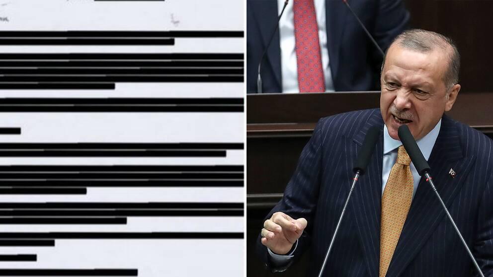 Bild på sekretssbelagt mejl från UD/Turkiets presidentRecep Tayyip Erdogan
