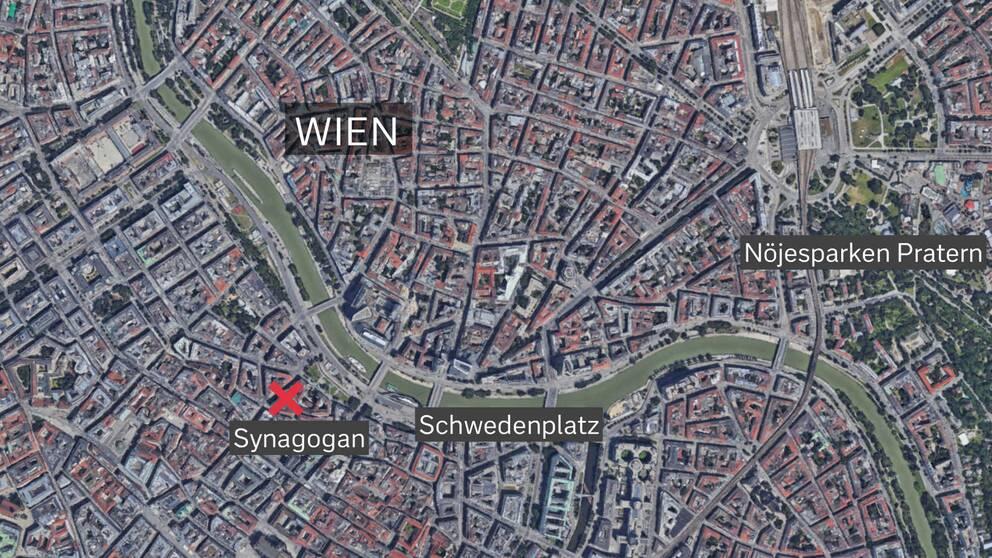 Skottlossningen inträffade vid synagogan nära Schwedenplatz i centrala Wien.