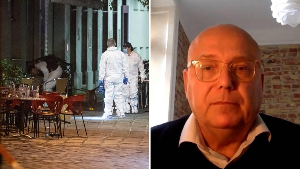 Terrorforskare Magnus Ranstorp och polistekniker vid dådet i Wien.