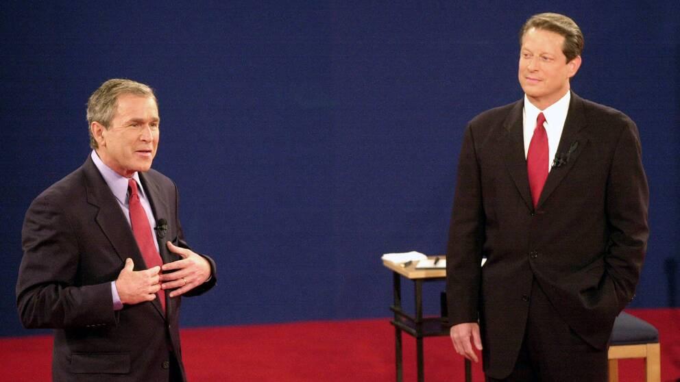 George W Bush och Al Gore under valrörelsen 2000.