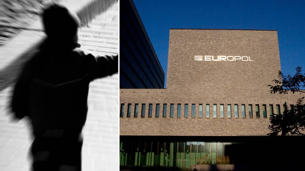 Bilden visar ett barn samt Europols huvudkontor i Haag, Nederländerna.