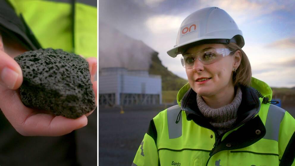 Närbild på en hand som håller i en svart basaltsten. En bild på den isländska geologen Sandra Snæbjörnsdóttir i hjälm och skyddsglasögon.