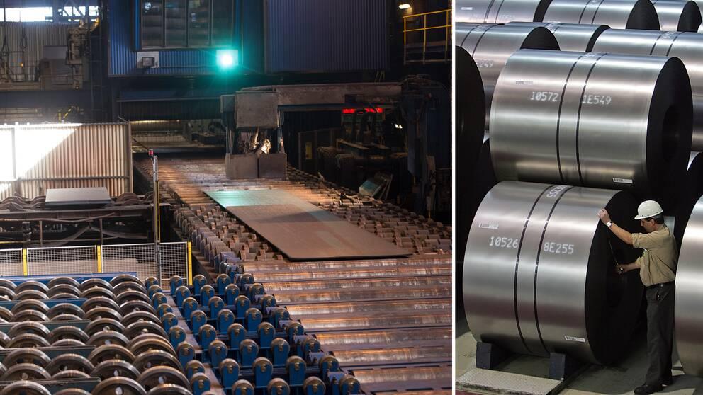 Bilden visar finska ståltillverkaren Outokumpus fabrik i svenska Degerfors samt Duisburg i Tyskland.