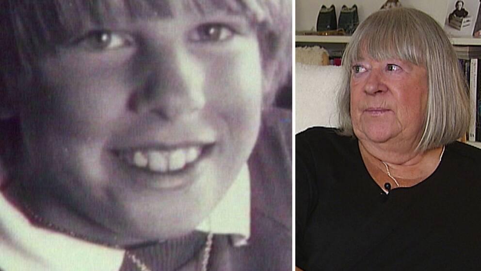 gammalt fot med närbild på pojken Johan, samt mamman Anna-Clara Asplund idag – en medelålders kvinna