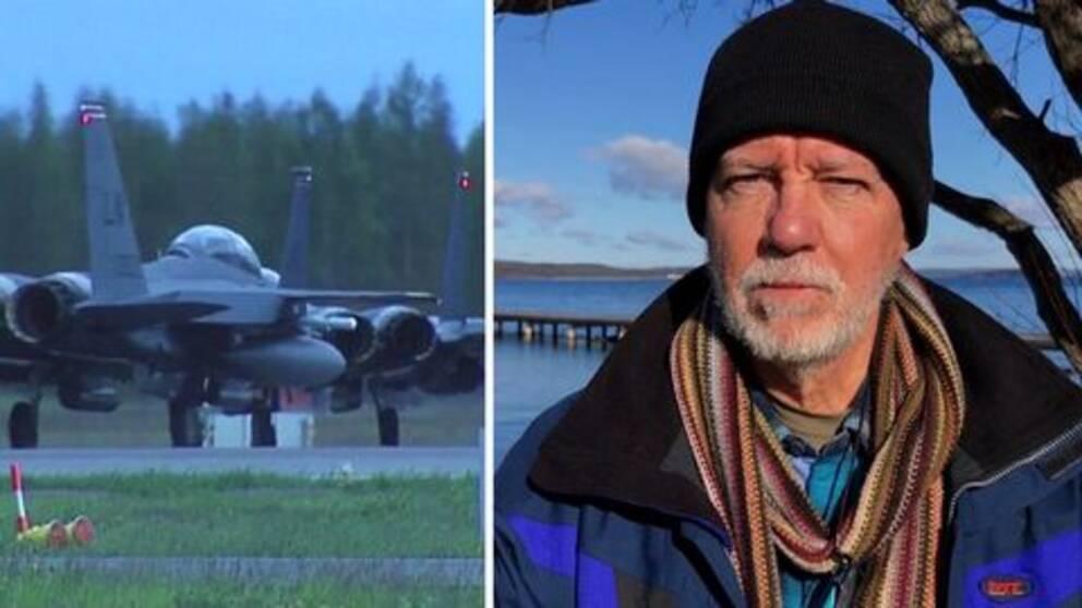 Flygplan och Christer Haagman framför Vättern