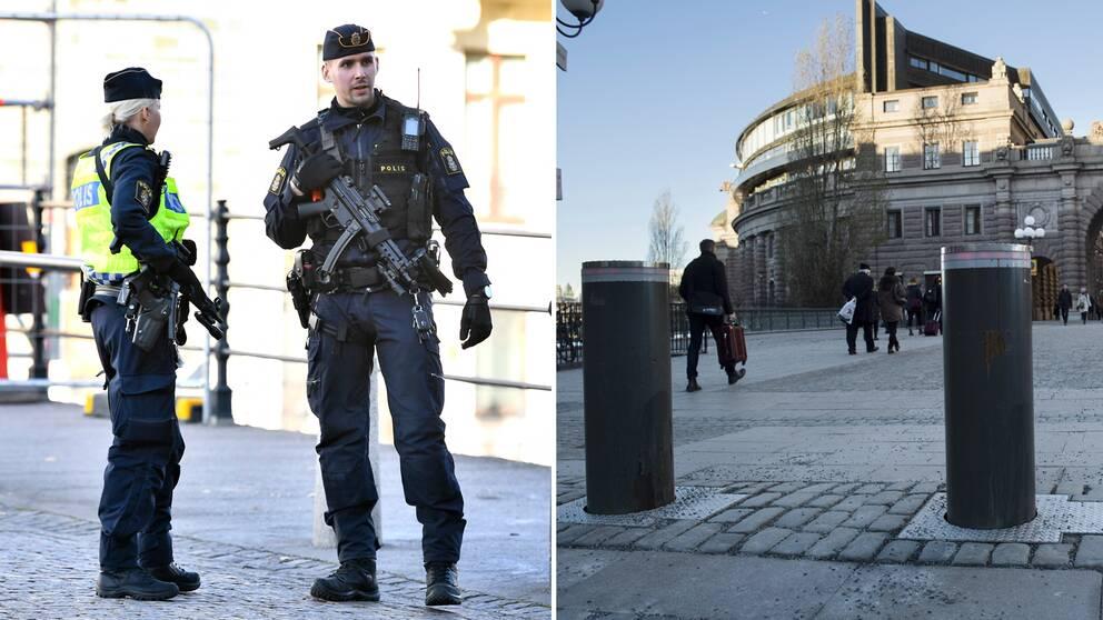 Bilden visar poliser med förstärkningsvapen på Riksbron framför riksdagen på fredagen, efter att polisen beslutat om en nationell särskild händelse med anledning av den senaste tidens misstänkta terrordåd i Europa.