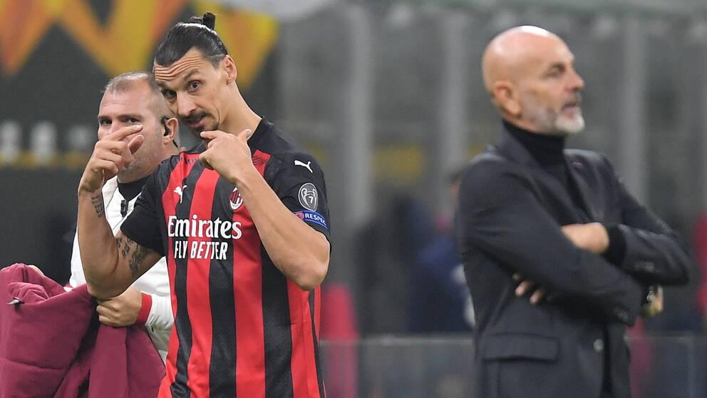 Zlatan Ibrahimovic gestikulerade när han blev utbytt mot Lille i torsdags.