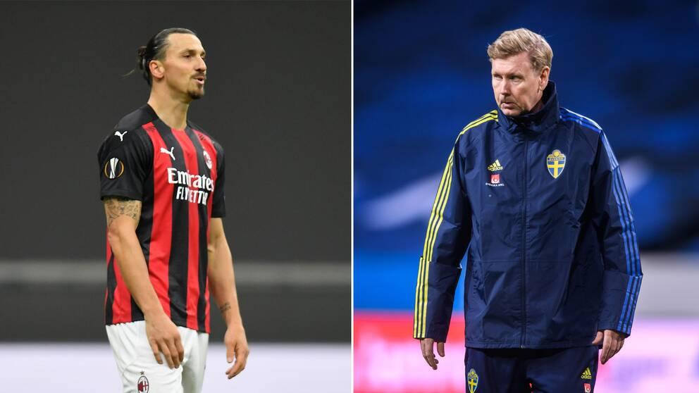Zlatan Ibrahimovic och assisterande landslagstränaren Peter Wettergren.