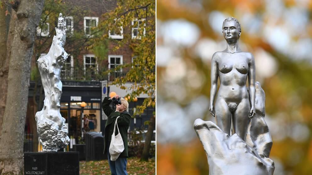 Statyn av feministikonen och författaren Mary Wollstonecraft och en person som fotograferar den.