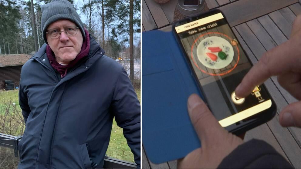 Sverker JOhanson står utomhus, en bild på appen som ska få elever att minska sitt matsvinn.