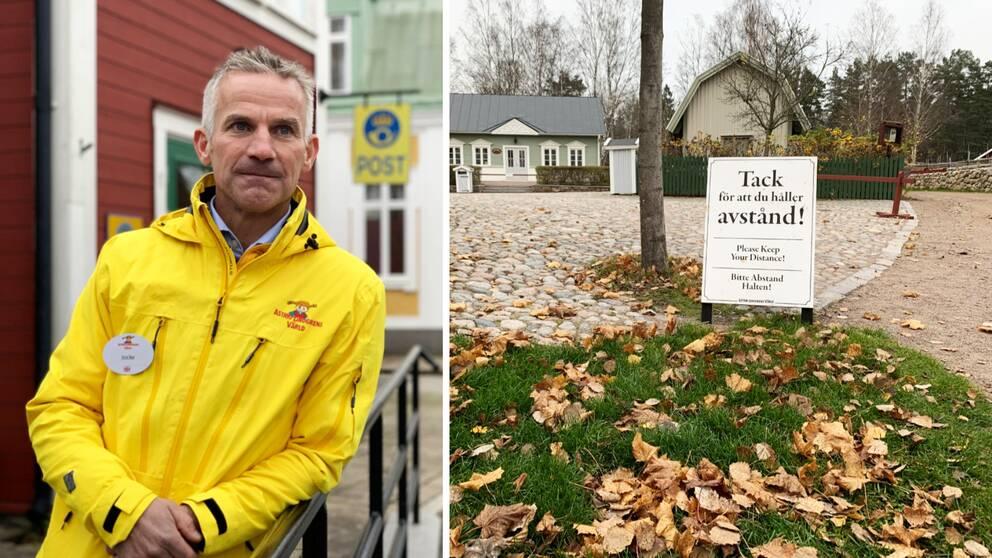 """Bilden är ett collage. Den vänstra bilden är en bild på Astrid Lindgrens Världs vd, Joacim Johansson. Han har på sig en gul jacka med deras logotyp. I bakgrunden syns äldre hus och en guld skylt där det står """"Post"""". Den vänstra bilden är en bild på en vitskylt där det står """"Tack för att du håller avstånd!"""". Skylten står på en kullerstensgata och framför är en gräsplätt med fallna höstllv."""