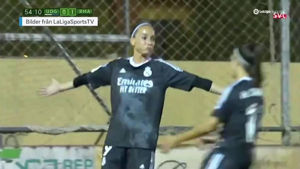Kosovare Asllani jublar efter att ha gett Real Madrid ledningen – men laget föll till slut med 1-2.