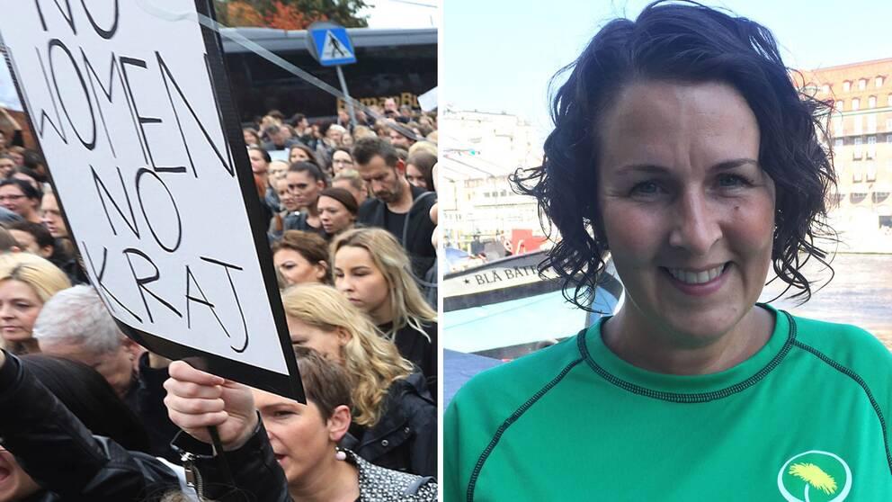 polsk demonstration mot nya abortlagar och Mätta Ivarsson, Miljöpartiets gruppledare i Region Skåne