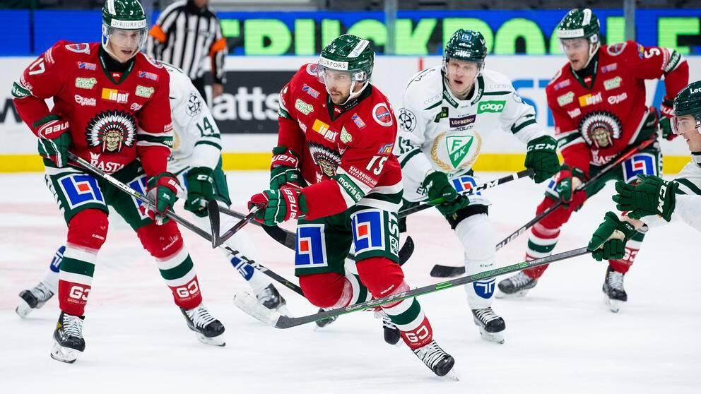 Frölundas Anders Grönlund matchen mot Färjestad.