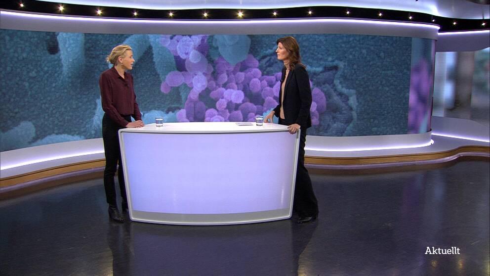 Cecilia Gralde intervjuar Karin Hildebrand i Aktuelltstudion.
