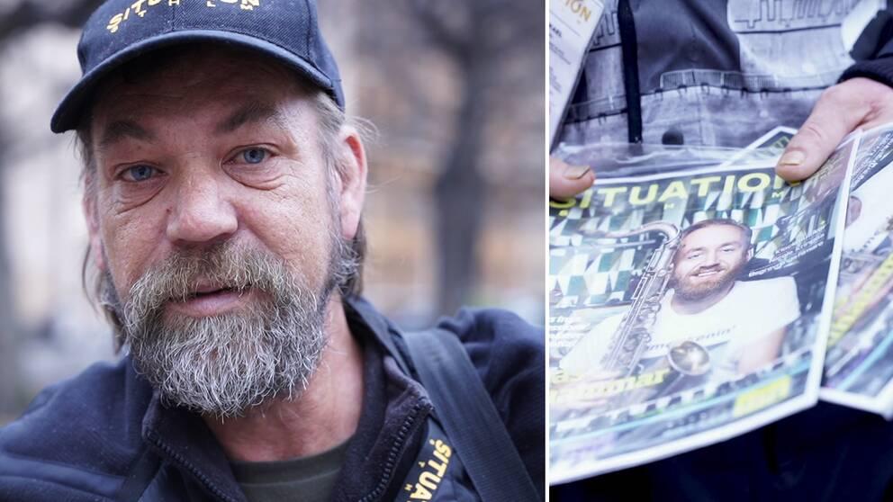 Bilden visar Mikael Olsson som varit hemlös sen några år tillbaka. Han håller en bunt av gatutidningen Situation STHLM som han säljer runtom i Stockholm.