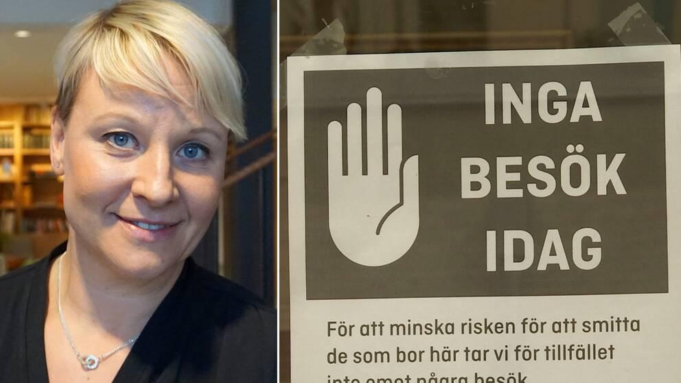 """""""Jag är beredd att ta konsekvenserna"""" säger Växjös kommunalråd Anna Tenje (M) om kommunens besöksförbud på äldreboenden inte är lagligt."""