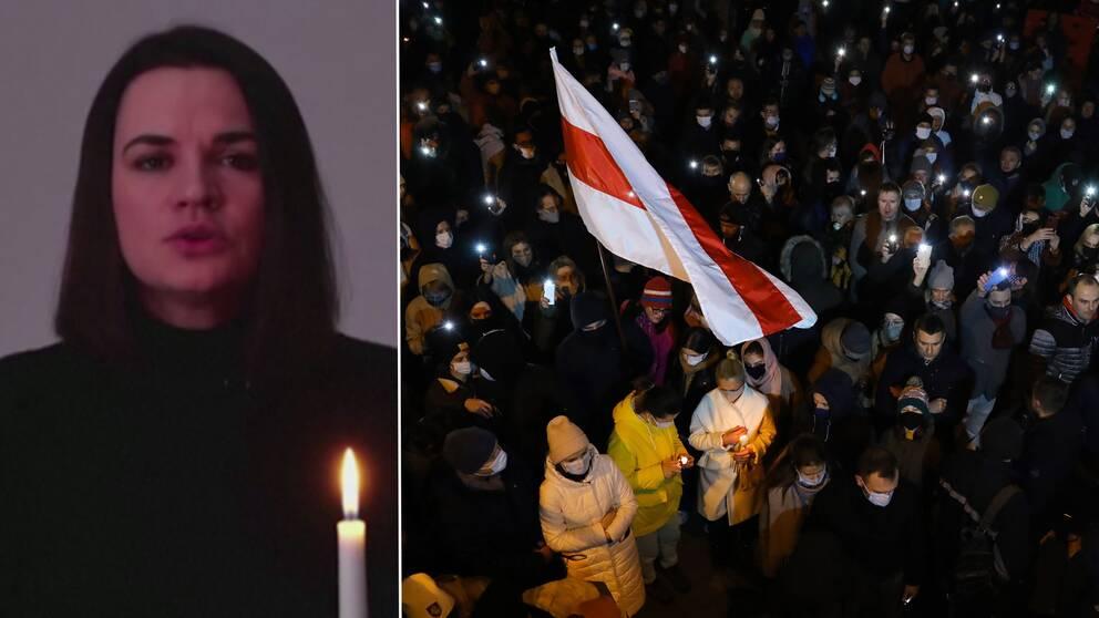 Oppositionsledaren i Belarus Svetlana Tichanovskaja och bild på demonstranter.