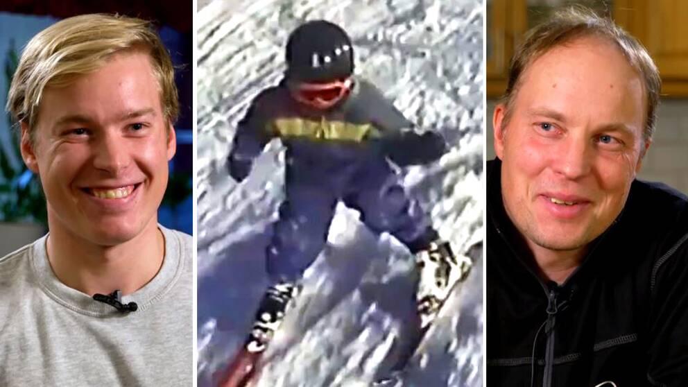 Alpina skidåkaren Kristoffer Jakobsen, bild på honom som barn och pappa Guttorm.