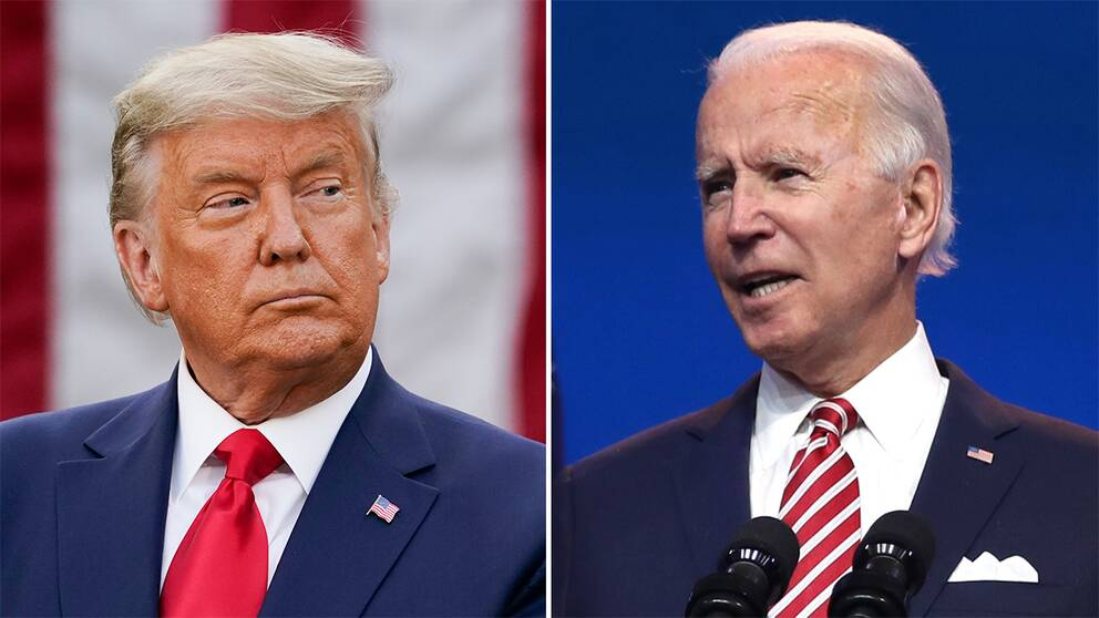 Donald Trump/Joe Biden vid måndagens pressträff i Wilmington, Delaware.