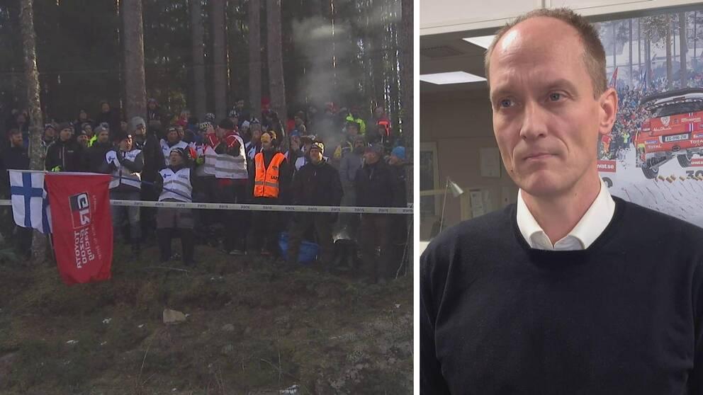 Två bilder. Rallypublik i skogen till vänster samt Glenn Olsson till höger.
