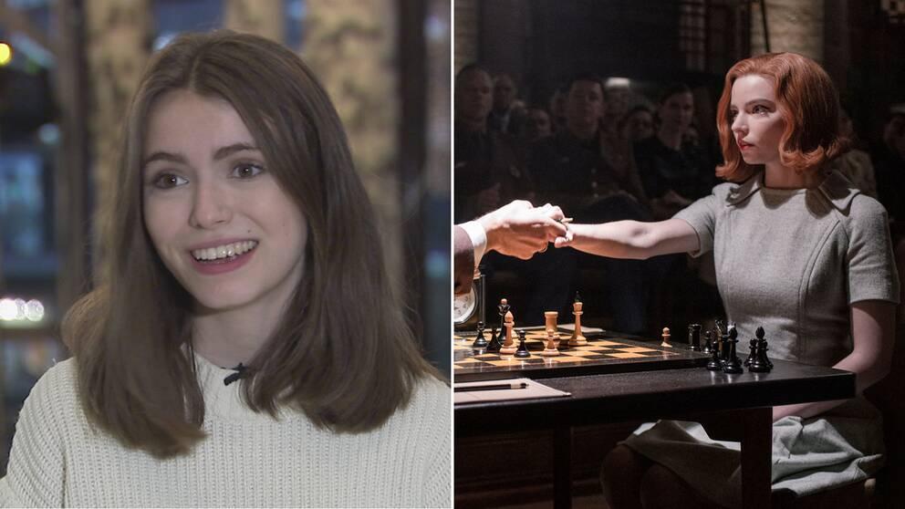 Schackinflueraren Anna Cramling och Anya Taylor-Joy i The Queen's Gambit.