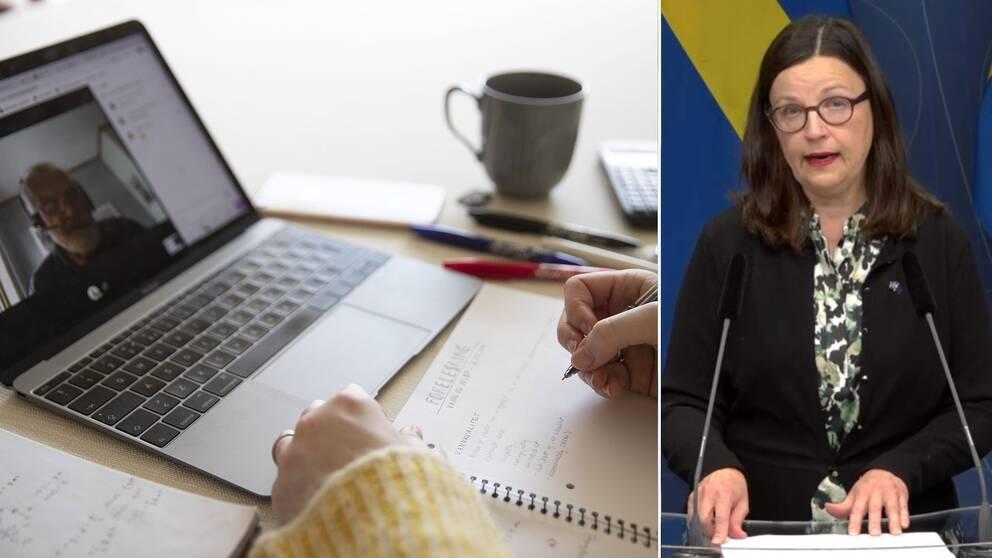 Utbildningsminister Anna Ekström: Större möjligheter till fjärr- och distansundervisning ska motverka trängsel.
