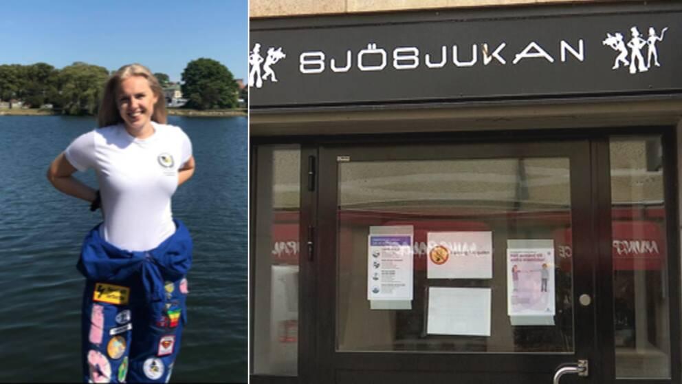 """Bilden är ett collage. Den vänstra bilden är en bild på Ida Ambjørseie, hon har på sig blå studentoverallsbyxor och en vit t-shirt. I bakgrunden är det vatten och gröna träd. Hon ler. Den högra bilden är en bild tagen utanför studentpuben Sjösjukans entré. Ovanför dörren står det """"Sjösjukan"""" samt deras logotyp."""