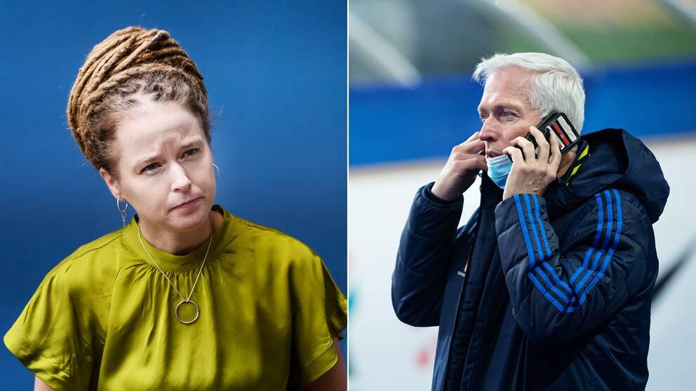 Till vänster ser Amanda Lind bekymrad ut. Till höger Håkan Sjöstrand.