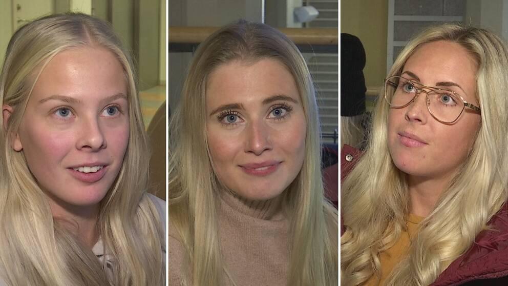 Tre unga blonda tjejer