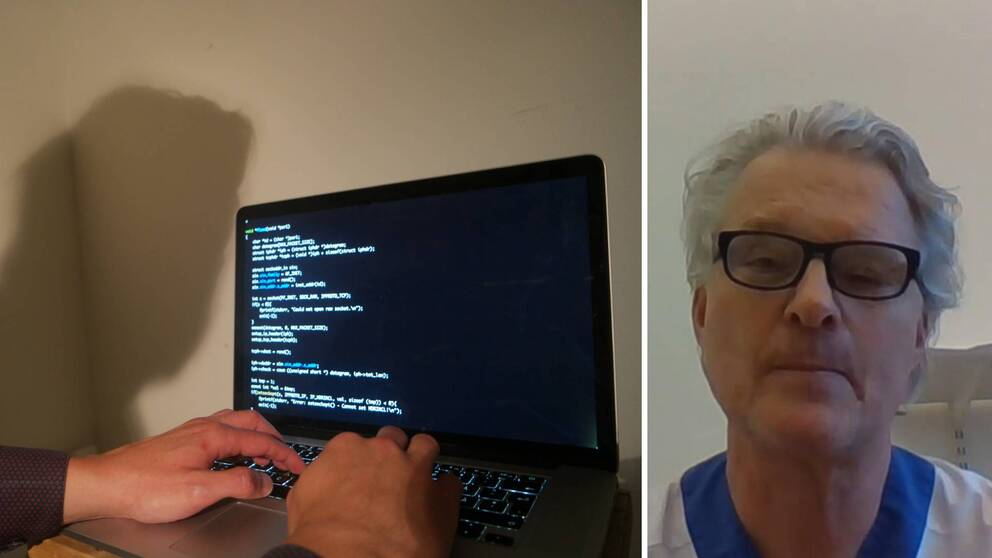 Två bilder. En bild med en laptop till vänster och John Widström till höger.
