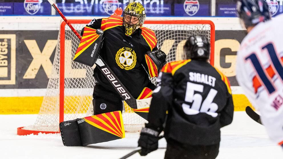 Brynäs målvakt Samuel Ersson hade oflyt vid 0–2.