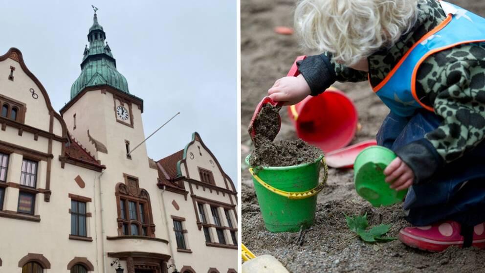 bild på Karlshamn rådhus och en bild på ett barn som leker i en sandlåda.
