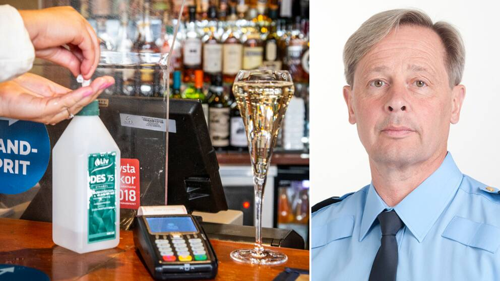 Till höger: Två händer tar handsprit i en bar, intill står ett glas på hög fot. Till vänster: en bild på polisens presstalesperson Thomas Fuxborg.