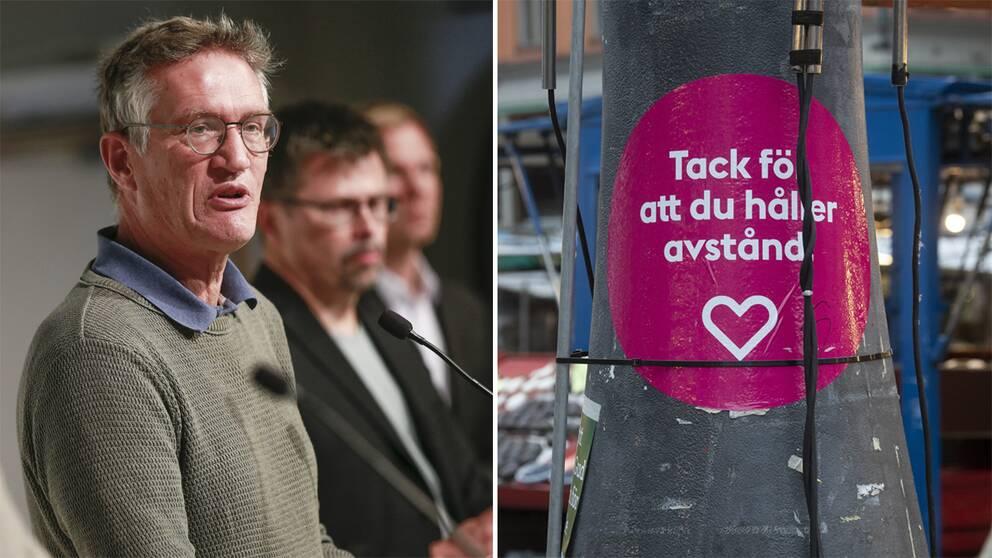 """Statsepidemiolog Anders Tegnell tv. Skylt med texten """"Tack för att du håller avstånd"""" th."""
