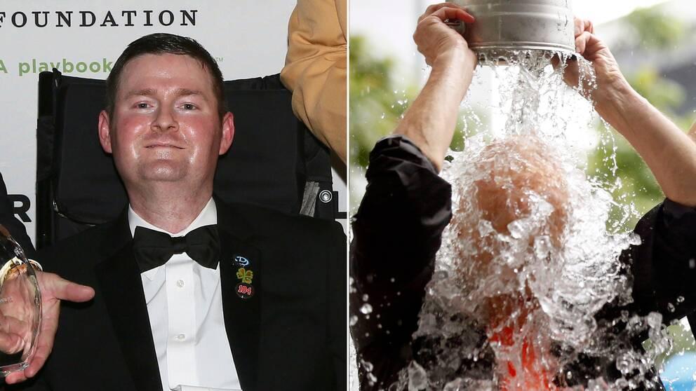 Patrick Quinn och en man som häller iskallt vatten på sig själv.
