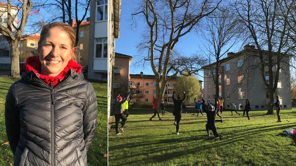 Bilden är ett collage. Den vänstra bilden är en porträttbild på Friskis & Svettis verksamhetschef, Natalie Olsén. Den högra bilden är en bild på personer som tränar utomhus i grupp. De har händerna i luften och är på väg ner i ett utfallssteg. De står på en grön gräsmatta. Det är sol ute och i bakgrunden skymtar lägenhetshus och nakna träd.