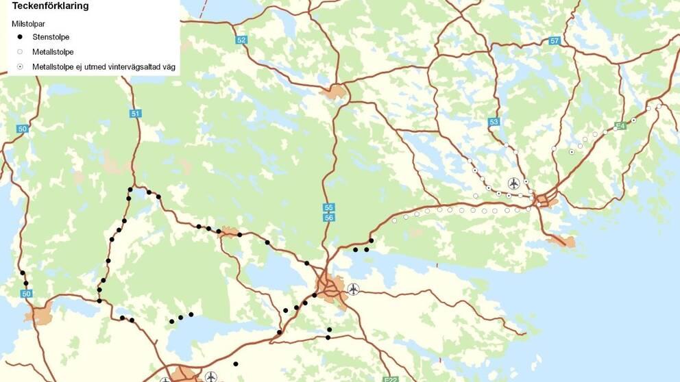 Karta över undersökta milstolpar i Sörmland och Östergötland