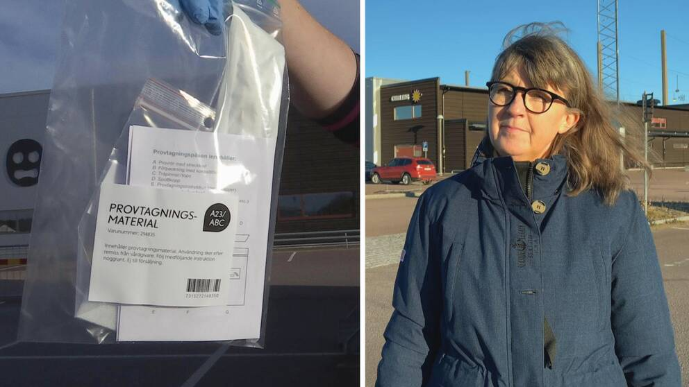 Tvådelad bild. Ena sidan föreställer en påse med provtagningsmaterial. Andra bilden till höger är på en kvinna, Charlotta Nelsson som är samordnare för covid-testningen i länet.