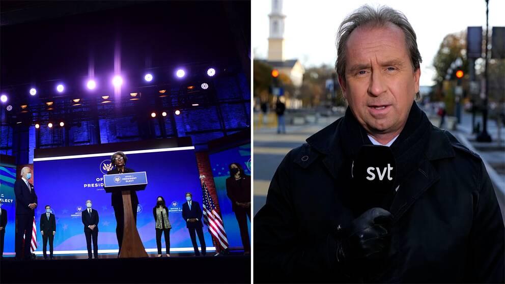 Den tillträdande president Joe Biden presenterar delar av sin regering samt bild på SVT:s USA-korrespondent Stefan Åsberg.