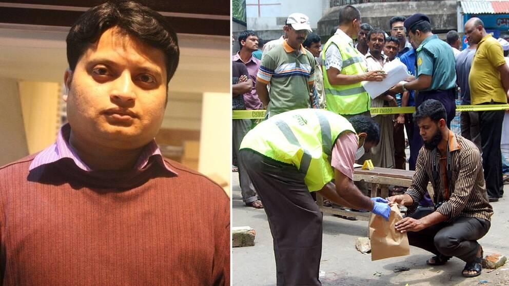 Polisen undersöker platsen där Ananta Bijoy Das, till vänster, mördades.