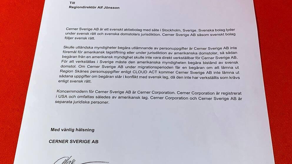Här intygar Cerner till regiondirektör Alf Jönsson att de inte kommer lämna ut några skånska patientuppgifter om amerikanska myndigheter skulle begära det.